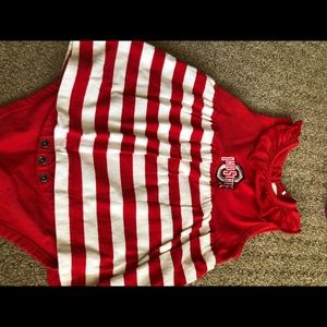 Toddler girl OSU bodysuit with skirt 12/18mo